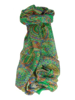 Mulberry Silk Traditional Long Scarf Rajeet Emerald by Pashmina & Silk