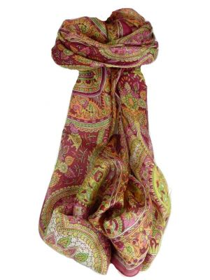 Mulberry Silk Traditional Long Scarf Rajeet Rose by Pashmina & Silk