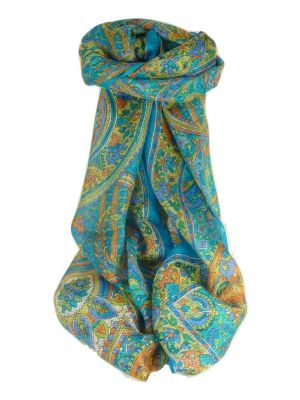 Mulberry Silk Traditional Long Scarf Rajeet Aquamarine by Pashmina & Silk
