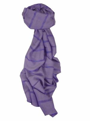 Mens Vietnamese Long Silk Scarf Hue Violet by Pashmina & Silk