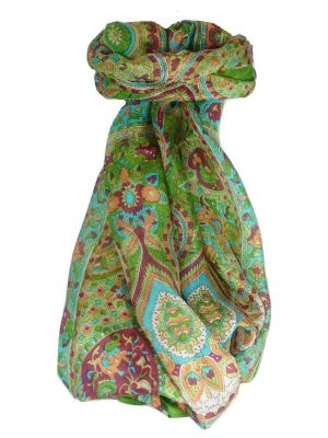 Mulberry Silk Traditional Long Scarf Rajeet Sage by Pashmina & Silk