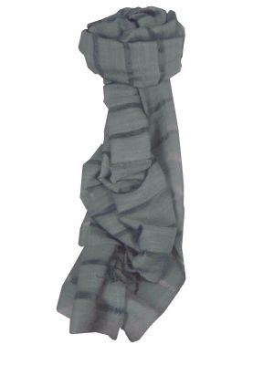 Mens Vietnamese Long Silk Scarf Hue Charcoal by Pashmina & Silk