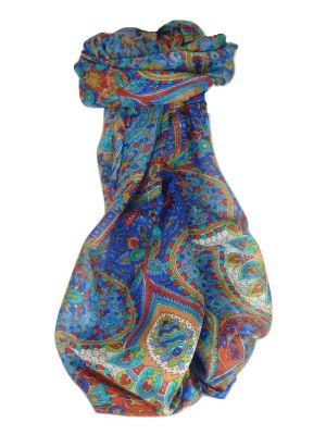 Mulberry Silk Traditional Long Scarf Rajeet Blue by Pashmina & Silk