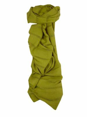 Mens Vietnamese Long Silk Scarf Hue Light Olive by Pashmina & Silk