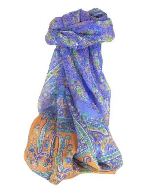 Mulberry Silk Traditional Long Scarf Ringhat Violet by Pashmina & Silk