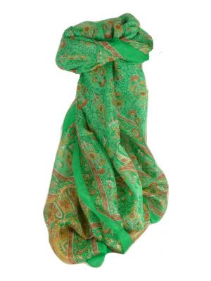 Mulberry Silk Traditional Long Scarf Ringhat Emerald by Pashmina & Silk