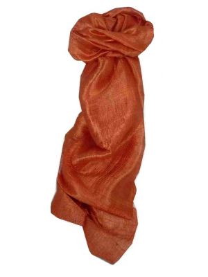 Pure Raw Silk Long Scarf Saigon Lua Van Weave Salmon by Pashmina & Silk
