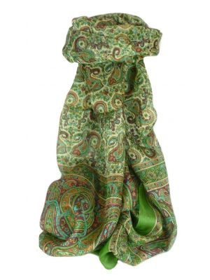 Mulberry Silk Traditional Long Scarf Dhobi Sage by Pashmina & Silk