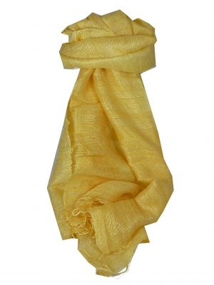 Pure Raw Silk Long Scarf Hanoi Weave Cream by Pashmina & Silk
