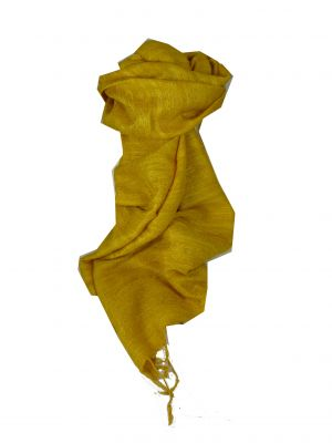 Pure Raw Silk Long Scarf Hanoi Weave Gold by Pashmina & Silk
