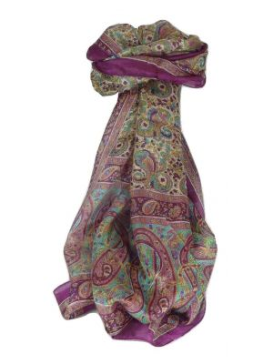 Mulberry Silk Traditional Long Scarf Dhobi Violet by Pashmina & Silk