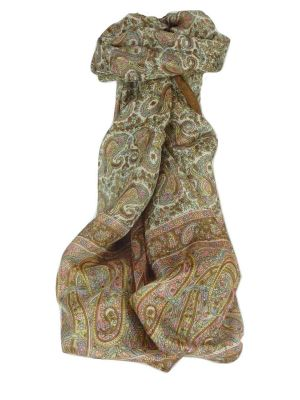Mulberry Silk Traditional Long Scarf Dhobi Chestnut by Pashmina & Silk