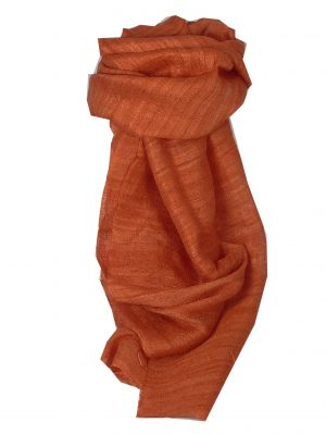 Pure Raw Silk Long Scarf Hanoi Weave Salmon by Pashmina & Silk