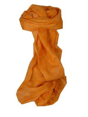 Pure Raw Silk Long Scarf Hanoi Weave Tangerine by Pashmina & Silk