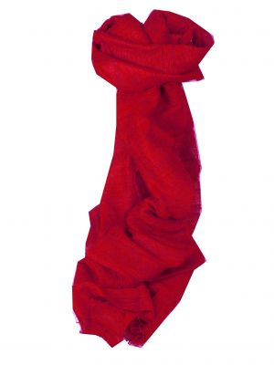 Pure Raw Silk Long Scarf Hanoi Weave Scarlet by Pashmina & Silk