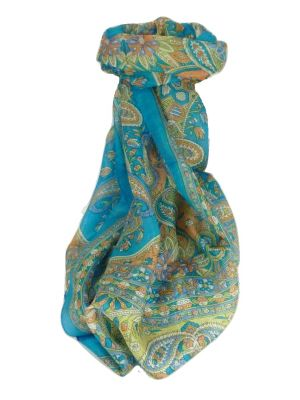 Mulberry Silk Traditional Long Scarf Chawl Aquamarine by Pashmina & Silk
