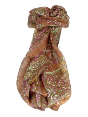Mulberry Silk Traditional Long Scarf Chawl Caramel by Pashmina & Silk