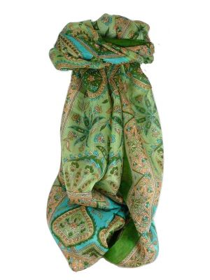 Mulberry Silk Traditional Long Scarf Chopra Sage by Pashmina & Silk