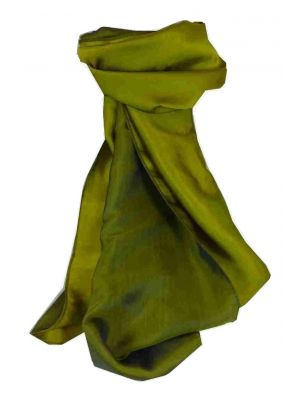 Vietnamese Cham-Pa Reversible Long Silk Scarf Teal & Olive by Pashmina & Silk
