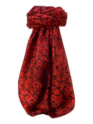 Mulberry Silk Contemporary Square Scarf Quila Poppy by Pashmina & Silk