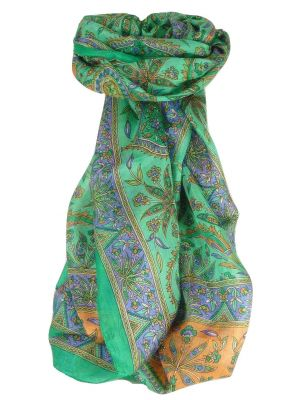 Mulberry Silk Traditional Long Scarf Chopra Emerald by Pashmina & Silk
