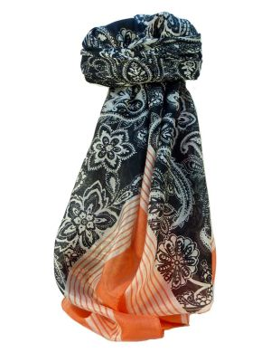 Mulberry Silk Contemporary Square Scarf Kangri Coral by Pashmina & Silk