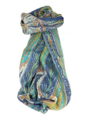 Mulberry Silk Traditional Long Scarf Johal Blue by Pashmina & Silk