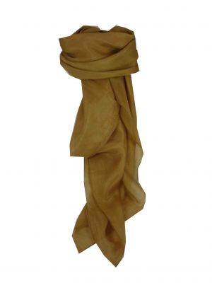 Mulberry Silk Hand Dyed Square Scarf Ochre from Pashmina & Silk