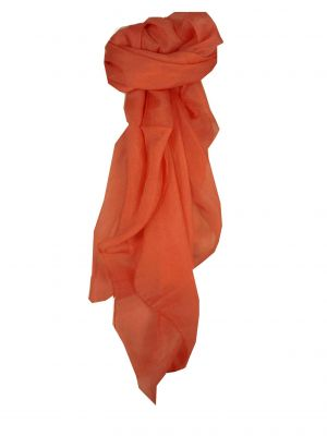 Mulberry Silk Hand Dyed Square Scarf Salmon from Pashmina & Silk