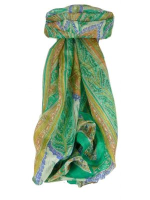 Mulberry Silk Traditional Long Scarf Johal Emerald by Pashmina & Silk