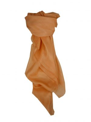 Mulberry Silk Hand Dyed Square Scarf Peach from Pashmina & Silk