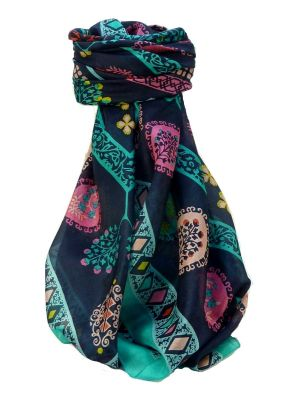 Mulberry Silk Contemporary Square Scarf Nanda Aqua by Pashmina & Silk