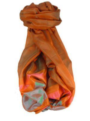 Varanasi Border Prime Silk Long Scarf Heritage Ganguly 915 by Pashmina & Silk