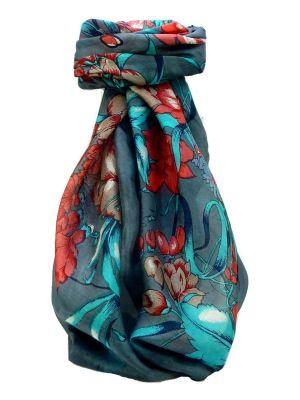 Mulberry Silk Contemporary Square Scarf Jaitak Charcoal by Pashmina & Silk