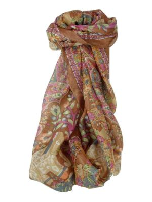 Mulberry Silk Traditional Long Scarf Kibe Caramel by Pashmina & Silk