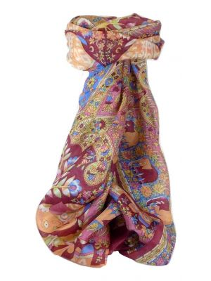 Mulberry Silk Traditional Long Scarf Kibe Wine by Pashmina & Silk