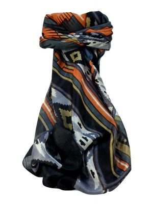 Mulberry Silk Contemporary Square Scarf Orcha Charcoal by Pashmina & Silk
