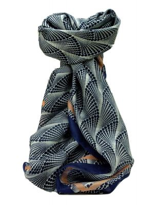 Mulberry Silk Contemporary Square Scarf Kaithal Blue by Pashmina & Silk