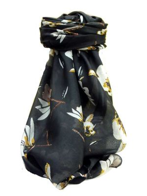 Mulberry Silk Contemporary Square Scarf Roha Black by Pashmina & Silk