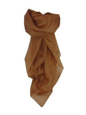 Mulberry Silk Hand Dyed Square Scarf Coffee Bean from Pashmina & Silk
