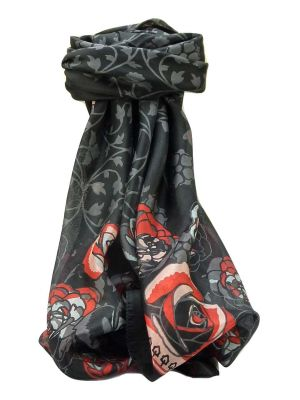 Mulberry Silk Contemporary Square Scarf Devi Black by Pashmina & Silk