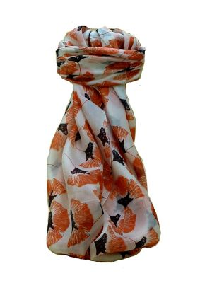 Mulberry Silk Contemporary Square Scarf Datia Coral by Pashmina & Silk