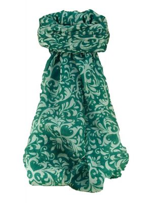Mulberry Silk Contemporary Square Scarf Akola Teal by Pashmina & Silk