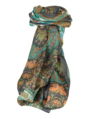 Mulberry Silk Traditional Long Scarf Dhar Charcoal by Pashmina & Silk
