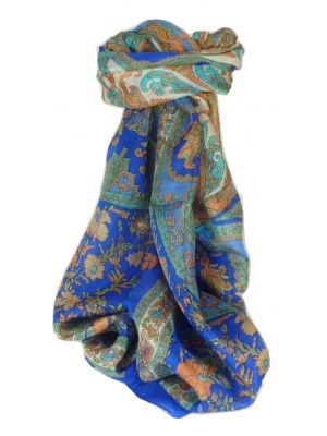 Mulberry Silk Traditional Long Scarf Dhar Blue by Pashmina & Silk