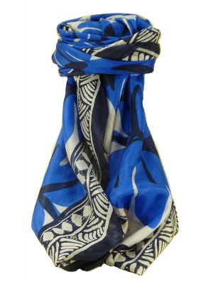 Mulberry Silk Contemporary Square Scarf Damodar Blue by Pashmina & Silk