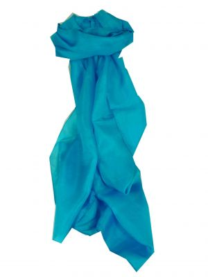 Mulberry Silk Hand Dyed Long Scarf Azure from Pashmina & Silk