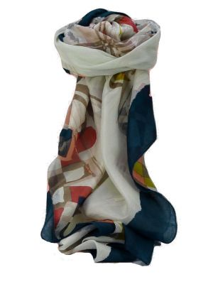 Mulberry Silk Contemporary Square Scarf Farah Navy by Pashmina & Silk