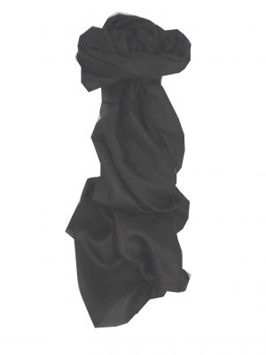 Mulberry Silk Hand Dyed Long Scarf Black from Pashmina & Silk