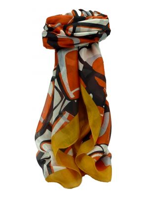 Mulberry Silk Contemporary Square Scarf Dhansin Gold by Pashmina & Silk